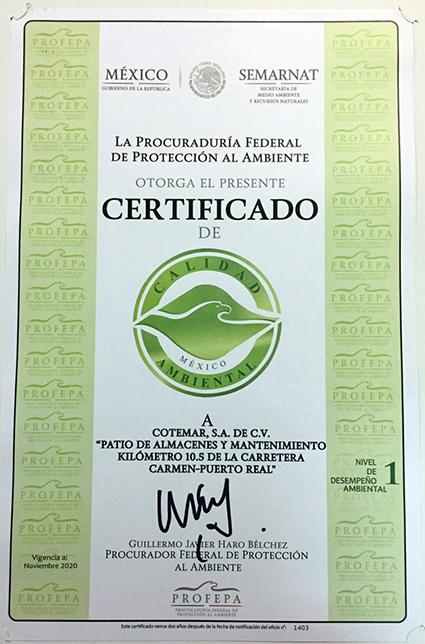 Fotografia Cotemar Certificado de Calidad Ambiental - PROFEPA