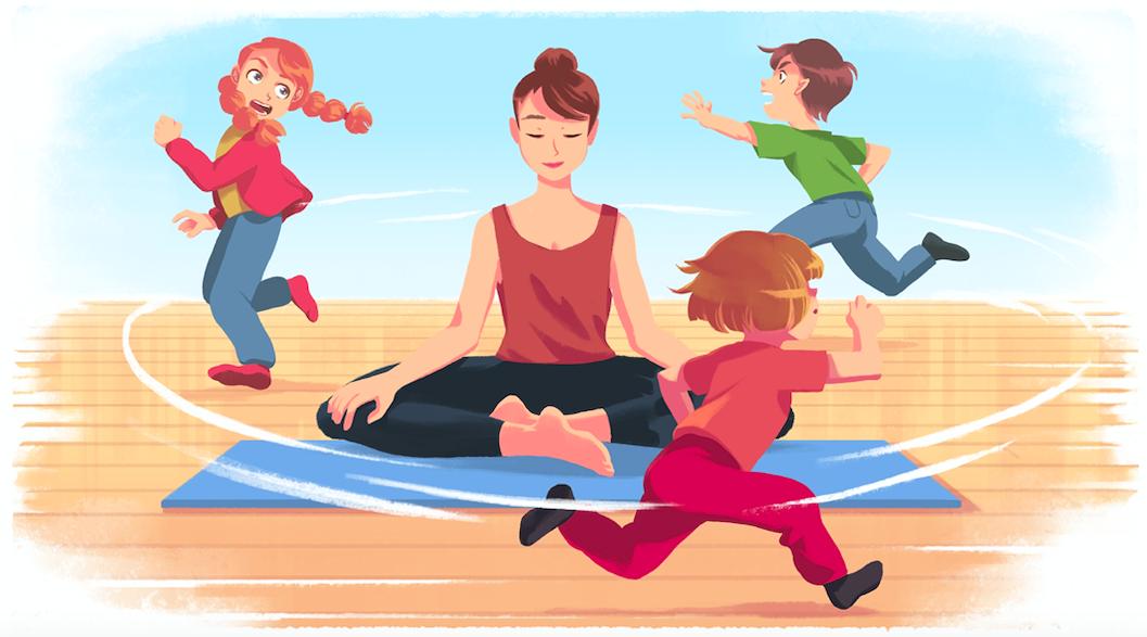 Fotografia Mujer meditando con niños alrededor