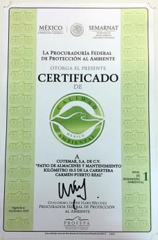 Cotemar Certificado de Calidad Ambiental - PROFEPA