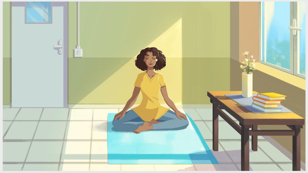 Fotografia Mujer meditando en su trabajo