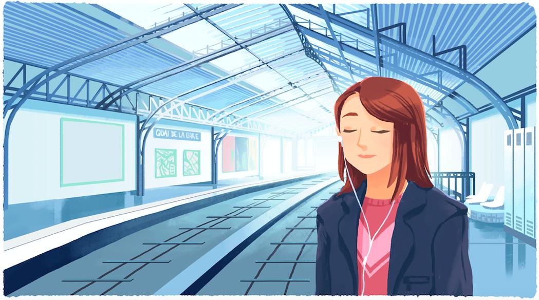 Fotografia Mujer meditando en el metro