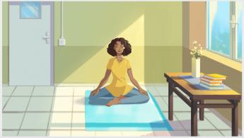 Foto de Mujer meditando en su trabajo