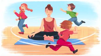 Foto de Mujer meditando con niños alrededor