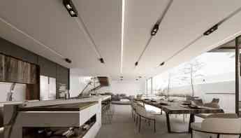 Foto de Vista de cocina y comedor de residencia diseñada por Rebora