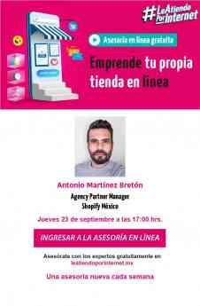 """Emprende tu propia tienda en línea"""" Un webinar con Shopify y Le Atiendo por Internet de la AIMX."""